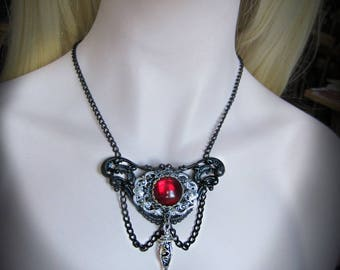 Black Renaissance Baroque Necklace, Swarovski Red Crystal, Black Choker, Victorian Black and Red Necklace, Silver and Black, Ready to Ship
