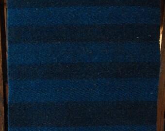 "Hand Woven Snow Leopard Blue Camel Hair Wool Table Runner - 12"" x 31"""