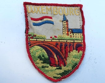 Charming Vintage Embroidered Luxembourg Travel Patch