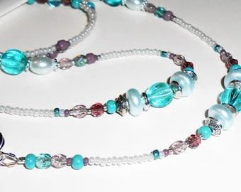 Beaded Eyeglass Chain, Faceted Glass Eyeglass Chain, Beaded Lanyard, Beaded Eyeglass Leash, EC02205