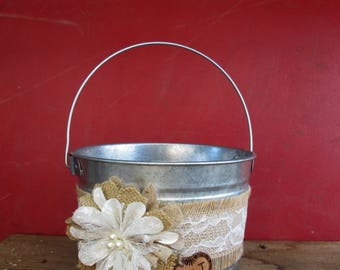 Wedding Bucket - Personalized Flower Girl Bucket - Burlap and Lace Wedding Basket - Rustic Flower Girl Basket - Wedding Basket