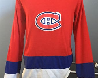 80s Vintage Montreal Canadiens nhl hockey Face Off jersey Shirt - LARGE