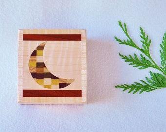 Wood Crescent Moon Jewelry Box - anniversary - astronomer - eclipse - keepsake box - men - women - watch box - to the moon and back  MDB7