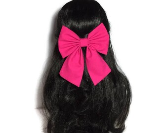 Fuchsia Hair Bow Clip, Pink Fabric Bows For Girls, Anime Costume Bows For Women, Sailor Bow Hair Clip, Hair Accessories For Women, LwT022