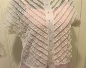 Sheer and lace 1940s blouse, rhinestone buttons, excellent condition