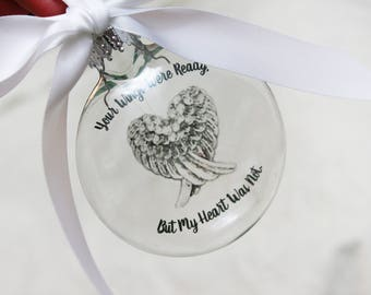 In Memory Christmas ornament, Memorial ornament, your wings were ready, Loss, in sympathy, glass ornament, floating ornament, grief ornament