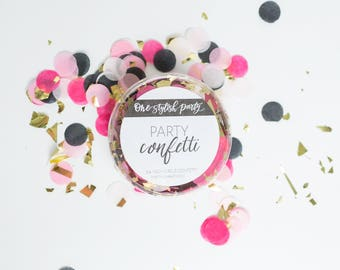 Party Confetti - Trendsetter - Hot Pink, Light Pink, Black and Gold Confetti - Bachelorette Party Decorations