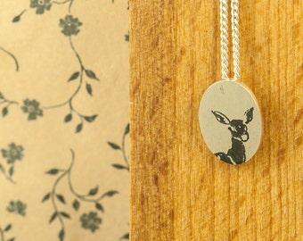 Deer Pendant necklace Oval || Silver Deer pendant || Deer silver necklace || Deer on silver chain || Deer silver jewelry ||