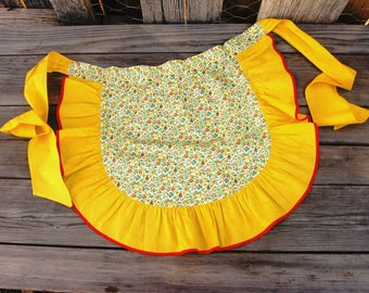 Vintage Half Apron with Ruffle Yellow and Red, Granny Chic Apron