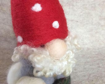 Felted wool gnome with bunny holiday ornament santa gnome toadstool