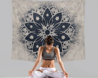 Mandala Wall Tapestry - Navy and Grey Print - Mandala Tapestry - Boho Decor
