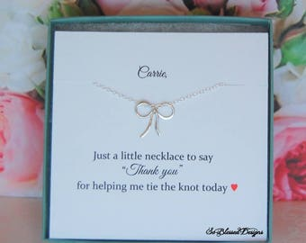 Bridesmaid Jewelry, Bridesmaid Gift, Personalized Bridesmaid Gift, Tiny bow necklace, Thank you gift to bridesmaids