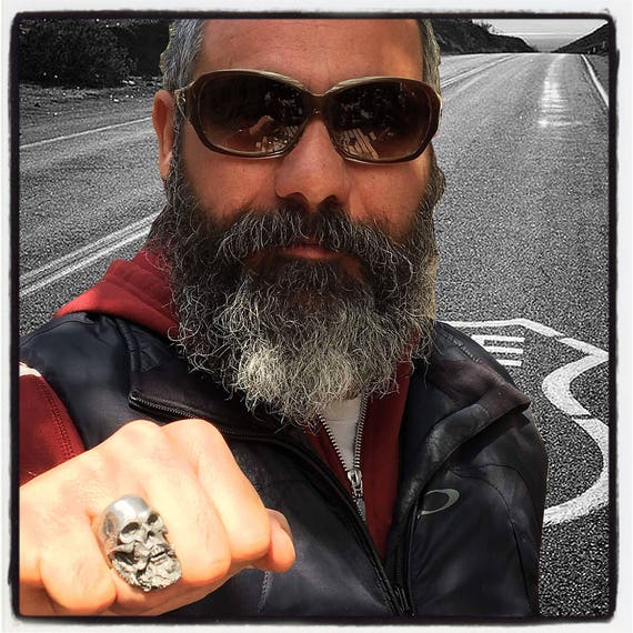 Sterling Silver Skull Beard Ring Skull Bearded Man Ring Boxer Ring Beard Ring Long Beard Skull Ring Biker Skull Ring Beard Ring Beard Biker