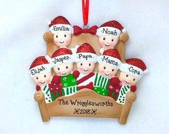 Winter Bed Family of 7 / Christmas Quilt / Personalized Christmas Ornament / Large Family / Hand Personalized
