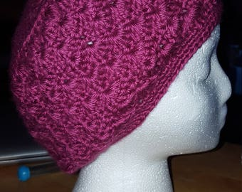 Deep Rose Pink Shell Crocheted Cap, Gifts Great for Chemo Patients
