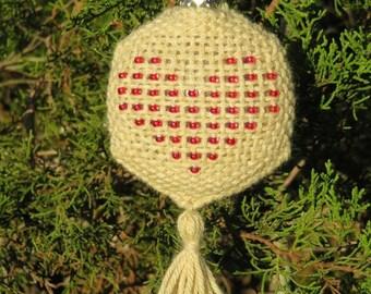 Beaded Heart Hexagon Pin Loom Weaving Pattern