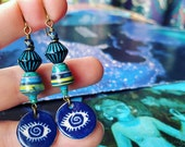 Mixed Skylines Nature Book Paper Bead Earrings with Heartstone Gallery Ceramic Eye Charms