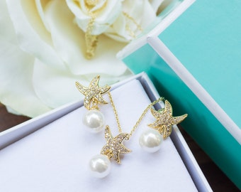 Starfish Earrings | Starfish Necklace | Beach Wedding | Bridesmaid Sets | Bridesmaid Gifts | Bridesmaid Gifts | Bridesmaid Jewelry | Wedding