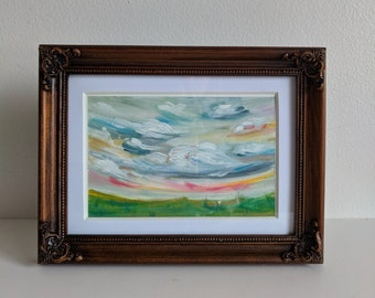 Taffy Sunrise - Original Oil Painting on Gesso Paper - Framed Oil Painting - Sky & Cloud Landscape