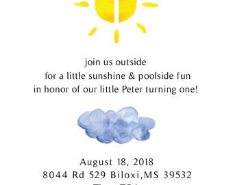 Our Little Sunshine/1st Birthday Invites/ My Little Sunshine Party