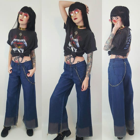 Size Small Medium Vintage 90s High Waisted Bell Bottom Jeans - Dark Navy Blue Wash 1990s Highwaisted Wide Leg Denim - High Rise Flared Jeans