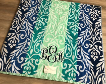 Monogrammed beach towels, BLUE/TEAL FLORAL towel set