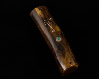 natural mezuzah case wood doorstep spirituallity prare scroll one of a kind weddind jewish art