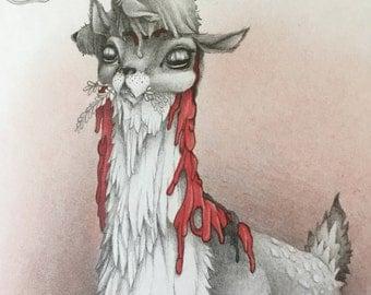 original drawing - Decapitated Buck