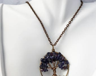 Purple Iolite Tree of Life Pendant On Brown Silk Chain and Oxidized Copper Wire Wrapped Semi Precious Gemstone Jewelry