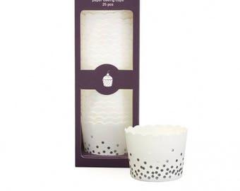 Silver Foil Confetti Baking Cups  (25 Count)