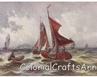 Art Postcard - Postkarte - Carte Postale - Six Point Star Serie 200 - Fishing Boats at Sea