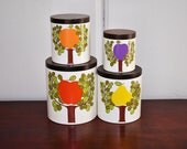 Ransburg Fruit Tree Canister Set of 4, Walnut Lids, Retro Bright Colors Apple Orange Pear Plum Lidded Metal Kitchen Canisters