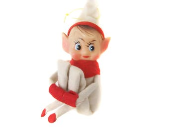 Small Vintage Pixie Elf Knee Hugger Ornament, Pointy Ear Elf, White Hat and Outfit Red Scarf Gloves, 1960's Christmas Elf