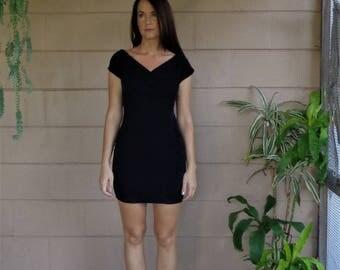 Vintage Bodycon Dress / Black  Early 90's / Small Medium