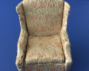 Vintage Ideal Petite Princess Wing Chair in Gold Floral 1:16 Scale