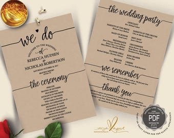 We Do Wedding Program PDF card template, instant download editable printable, Ceremony order card in calligraphy rustic theme (TED410_7)