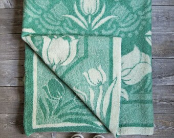 Vintage Orr Health Wool Blanket - Green Cream - Tulip Floral Pattern Reversible - Orr Felt Blanket - 40s 50s