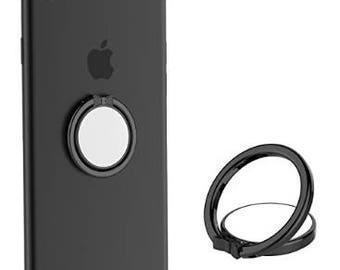 Multifunctional Cell Phone Ring Stand Holder 360 Finger Black