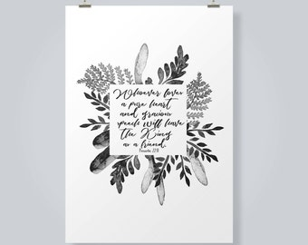 Proverbs 22:11 Print, Bible Print, Bible verse Printable, Pure Heart Gracious Speech, Wall Decor, Home Decor, Black and White Print