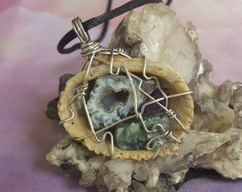 Reiki infused one of a kind wire wrapped seashell pendant with a druzy quartz geode, Seraphinite, and Amethyst *ocean goddess, mermaid*