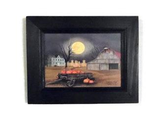 Harvest Moon, Billy Jacobs, Framed Print, Wall Hanging, Seasonal Decor, Home Decor, Handmade, 9x7, Custom Wood Frame, Made in the USA