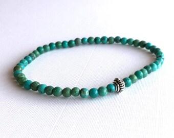 Genuine Turquoise Bracelet, Men's / Women's Sterling Silver Turquoise Jewelry,  Blue Green Stone Stretch Bracelet, Small Bead Bracelet