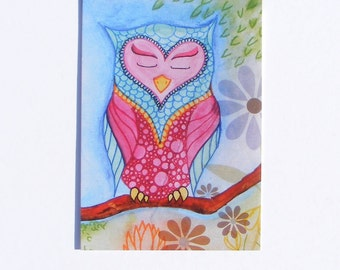 Blue and pink owl, Evie art print blank postcard. Illustration style blank occasion card. Glossy finish print from watercolour painting.