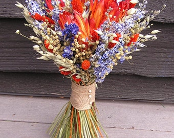 Dried Wedding Bouquet, Dried Bridal Flowers, Blue and Orange Wedding, Dry Bouquet, Dried Wedding Flowers with Tropical Protea Flowers