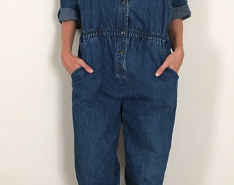 Vintage 3/4 Sleeve Denim Jumpsuit