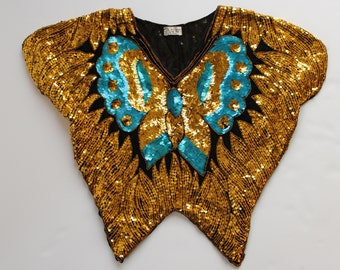 70s Gold Sequin Butterfly Top w/ Turquoise Accent Classic Rocker | One Size | Vintage
