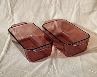 "Two (2) Pyrex ""Cranberry"" ~ Loaf Pans ~ 8-1/2"" x 4-1/2"" ~ Bread Pans ~ 213-R ~ Glass ~ Vintage Pyrex"