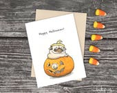 Pug O Lantern - pumpkin pug Halloween card, pugkin Jack o Lantern, funny Halloween card with pug in pumpkin by Inkpug