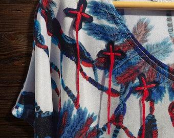 Plus size blouse | feather dream catcher | blue white & blue | suede leather fringe tassel embellishment | top | Sale