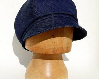 Denim cap| Newsboy cap|French cap|womens newsboy cap| Mens cap|Designer cap| Cotton cap| ZUTjean captains cap in vintage French fabric